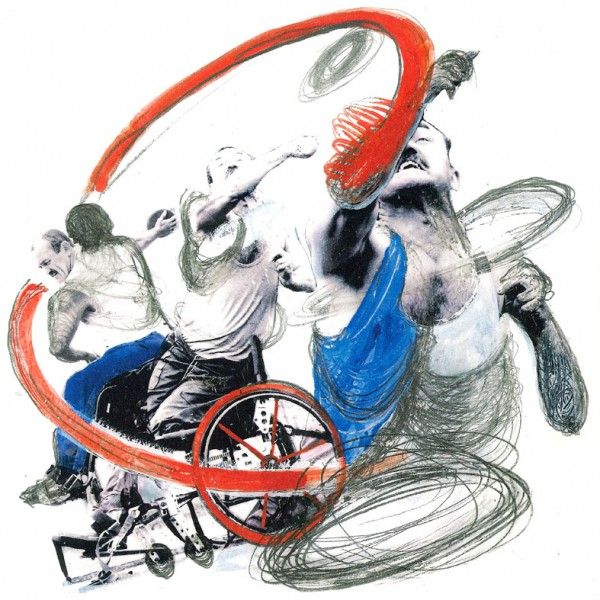 Mixed media image by Rachel Gadsden of a Paralympian discus thrower in action